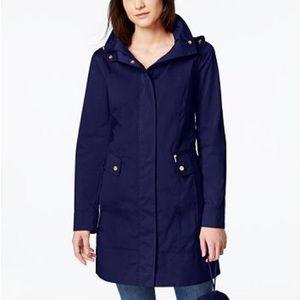 Cole Haan navy hooded rain jacket